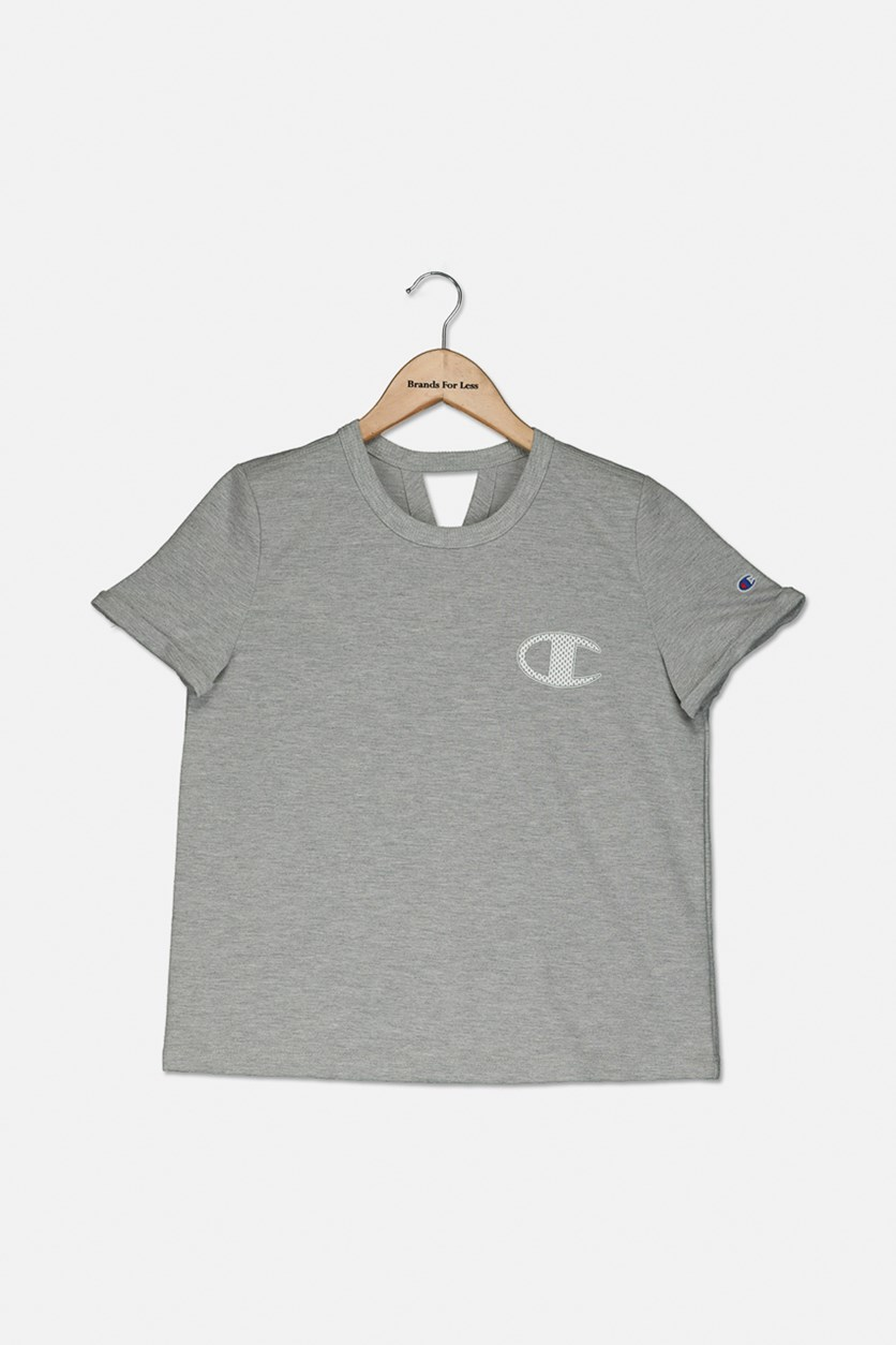 Big Girls French Terry Logo T-Shirt, Oxford Grey