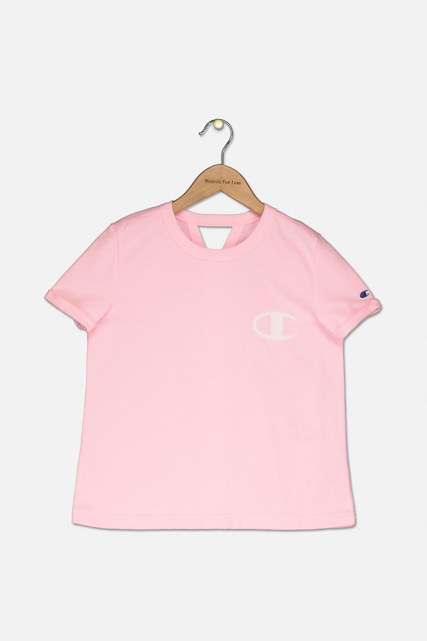 Big Girls French Terry Logo T-Shirt, Pink Candy