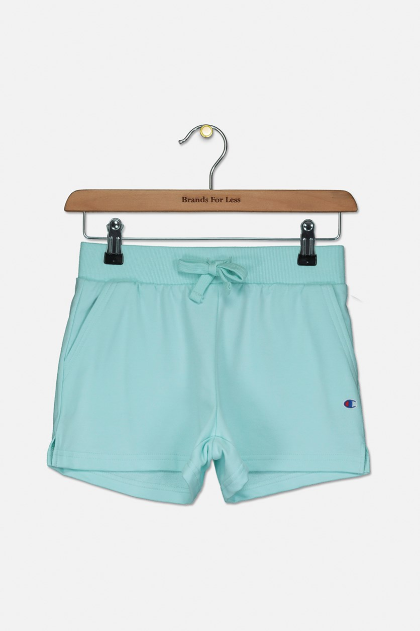 Big Girls French Terry Logo Shorts, Waterfall Green
