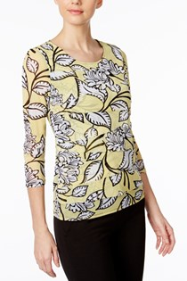 Women's Petite Printed Tiered Mesh Top, Yellow