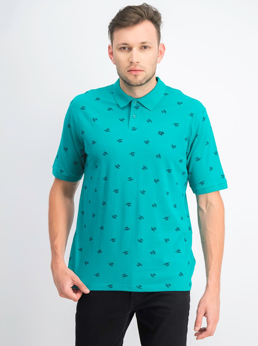 Men's Turtle Print Polo Shirt, Dark Aqua