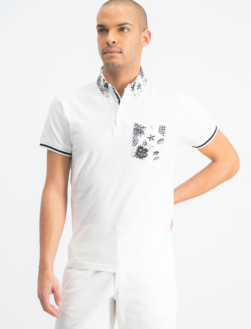 Men's Floral Pocket Neckline Polo Shirt, White