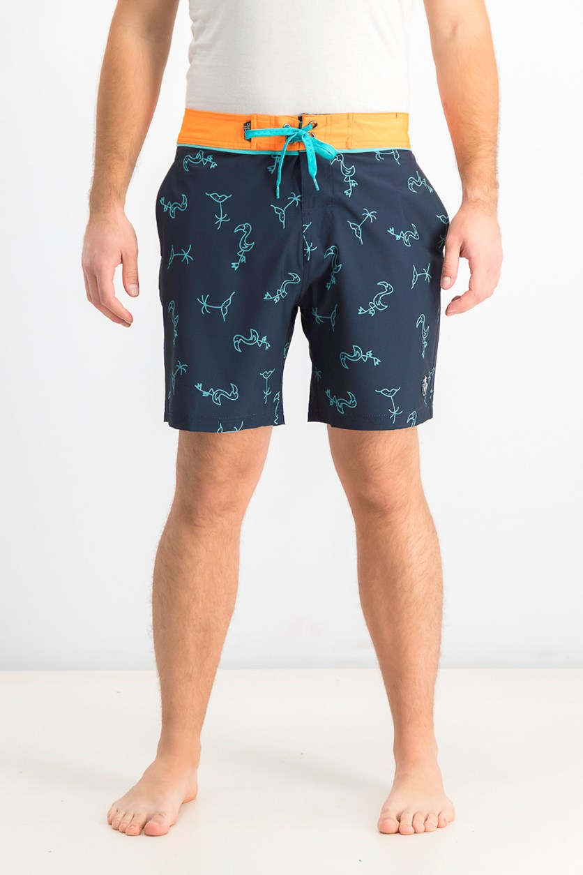 Men's Printed Board Shorts, Navy