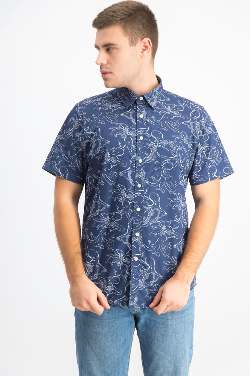 Men's Octopus Printed Casual Shirt, Navy
