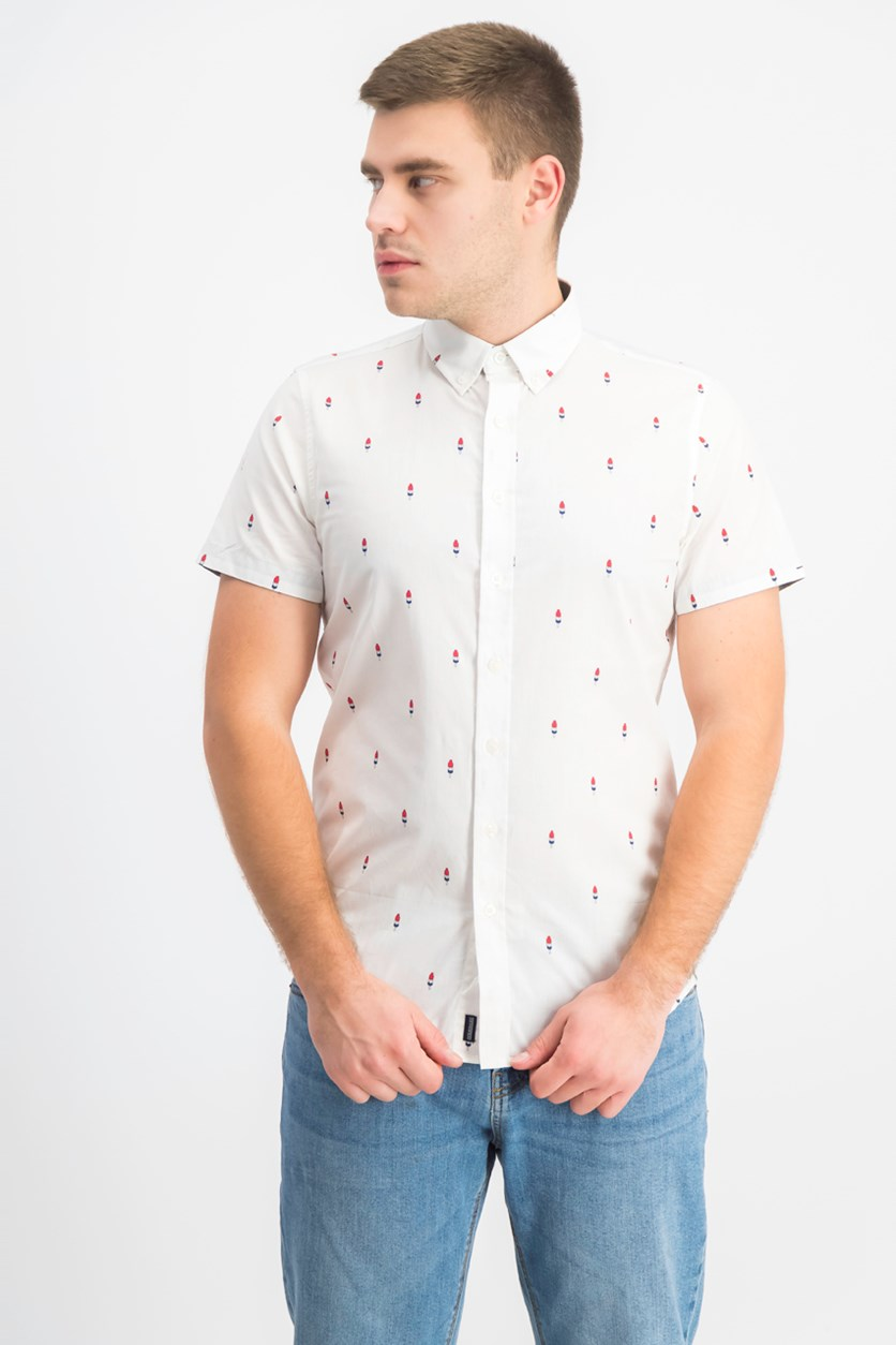 Men's Icepop Printed Casual Shirt, White Combo