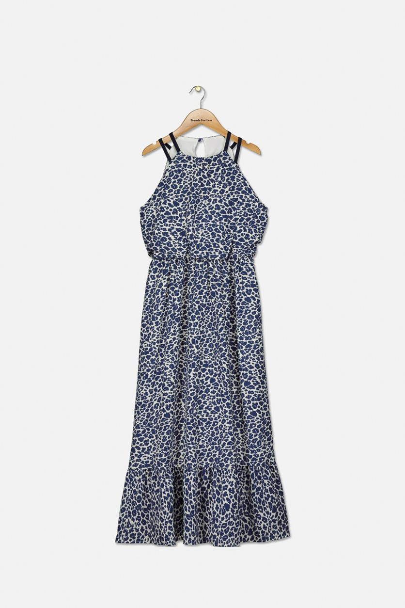 Big Girl's All Over Print Maxi Dress, Navy/White