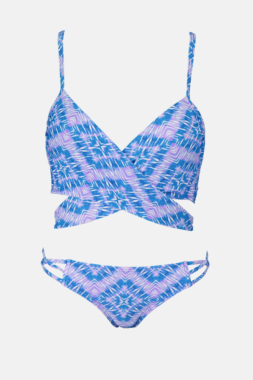 Women's Printed Halter Top Swimming Bikini Set, Indigo