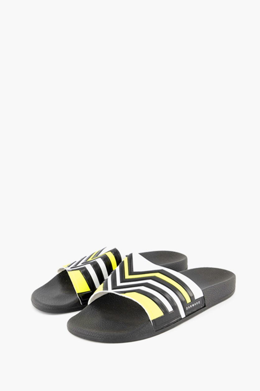 Men's Multi-Stripe Slide Sandals, Black/Neon