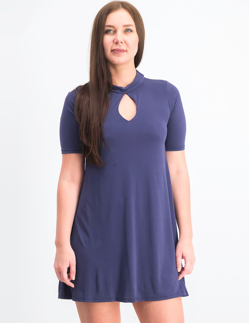 Women's Key Hole A-line Dress, Blue
