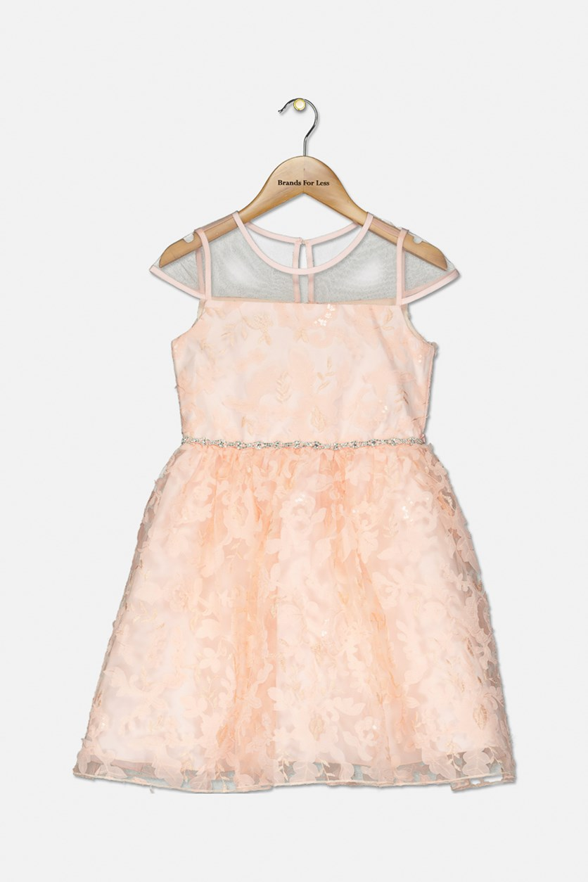 Girls Soutache Sequin Illusion Neck Dress, Peach