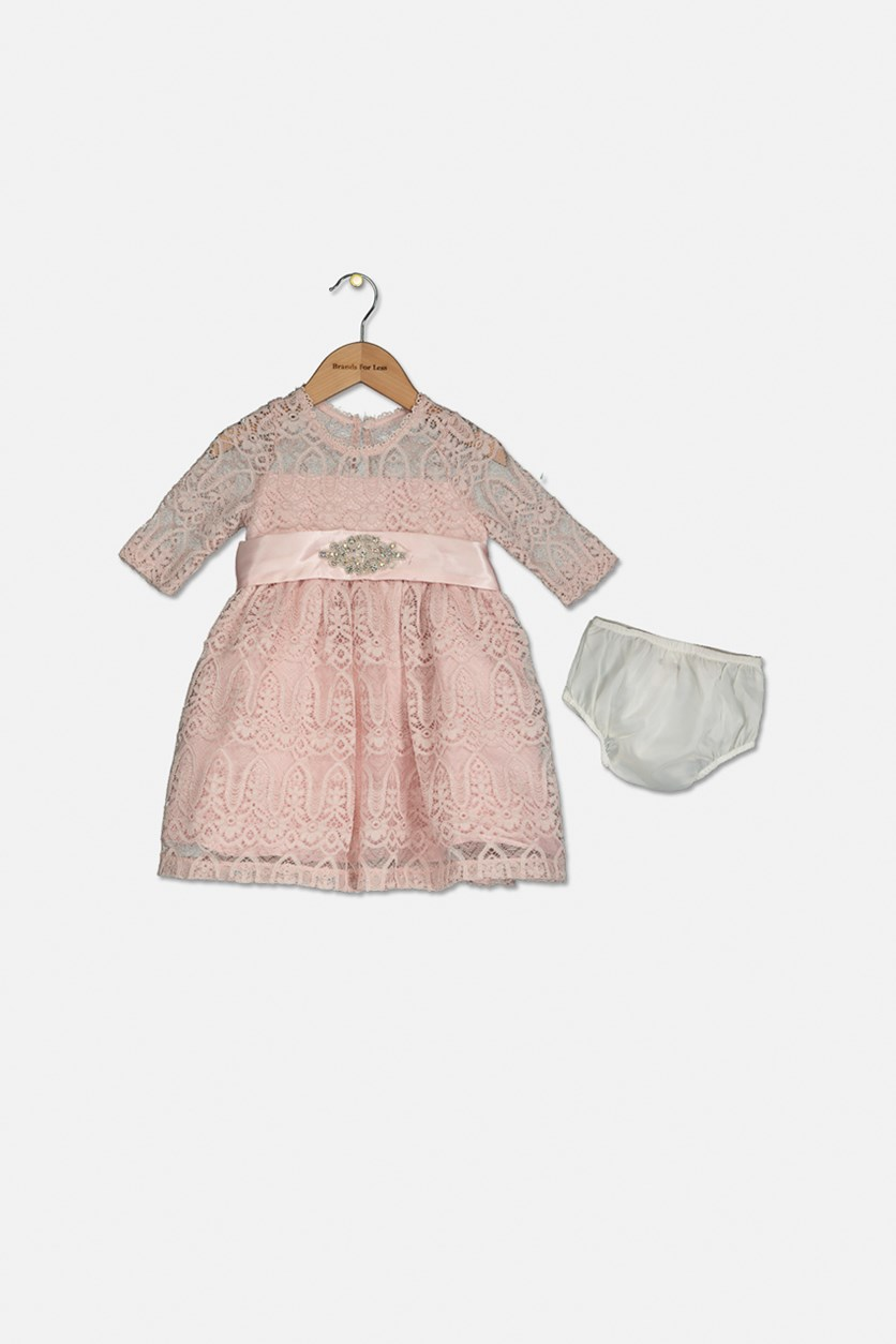 Toddler Girls Lace Dress with Diaper Panty, Pink