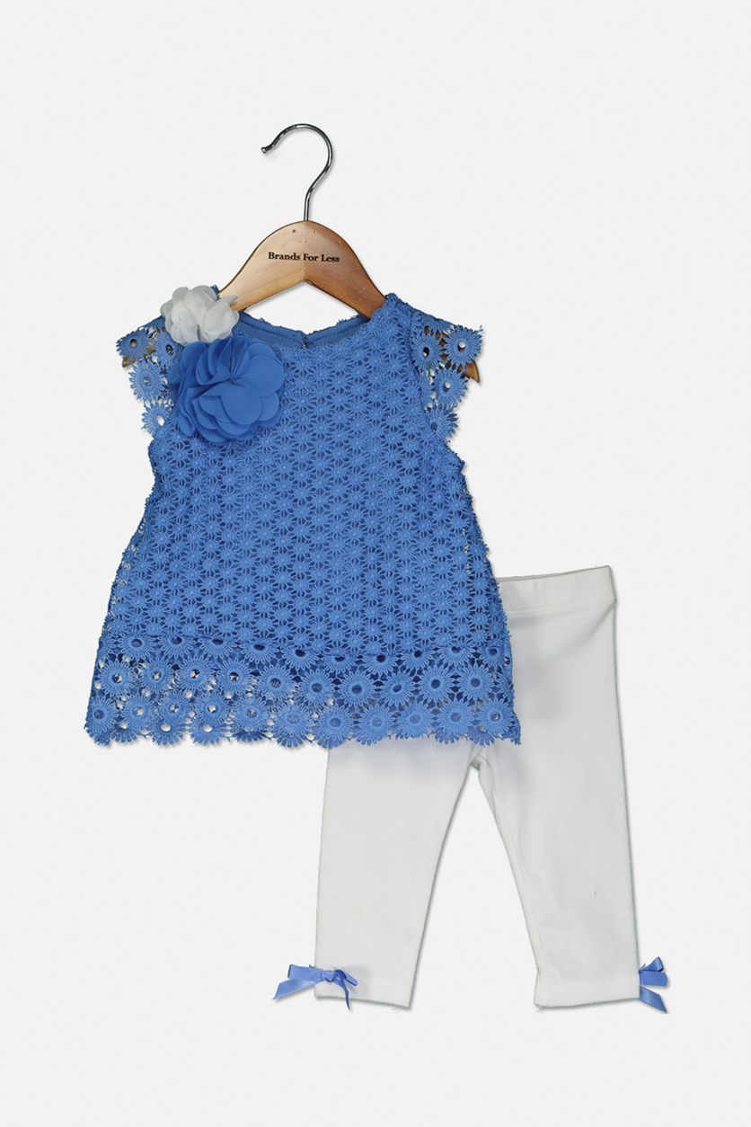 Baby Girls 2-Pc. Crochet Lace Tunic & Leggings Set, Blue/White