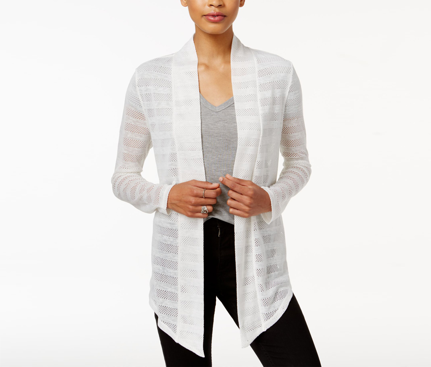 Asymmetrical Mesh-Contrast Cardigan, Bright White