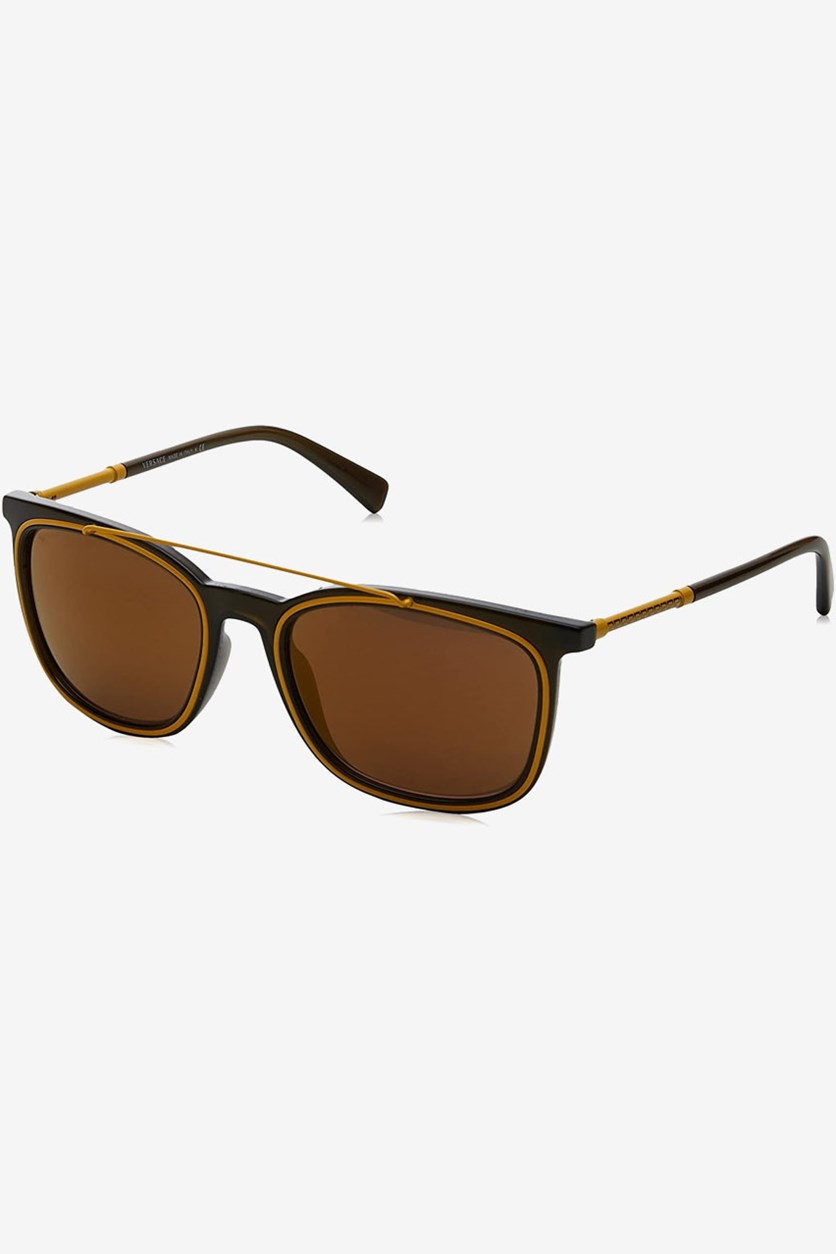 Men Crystal Sunglass, Brown/Black/Yellow