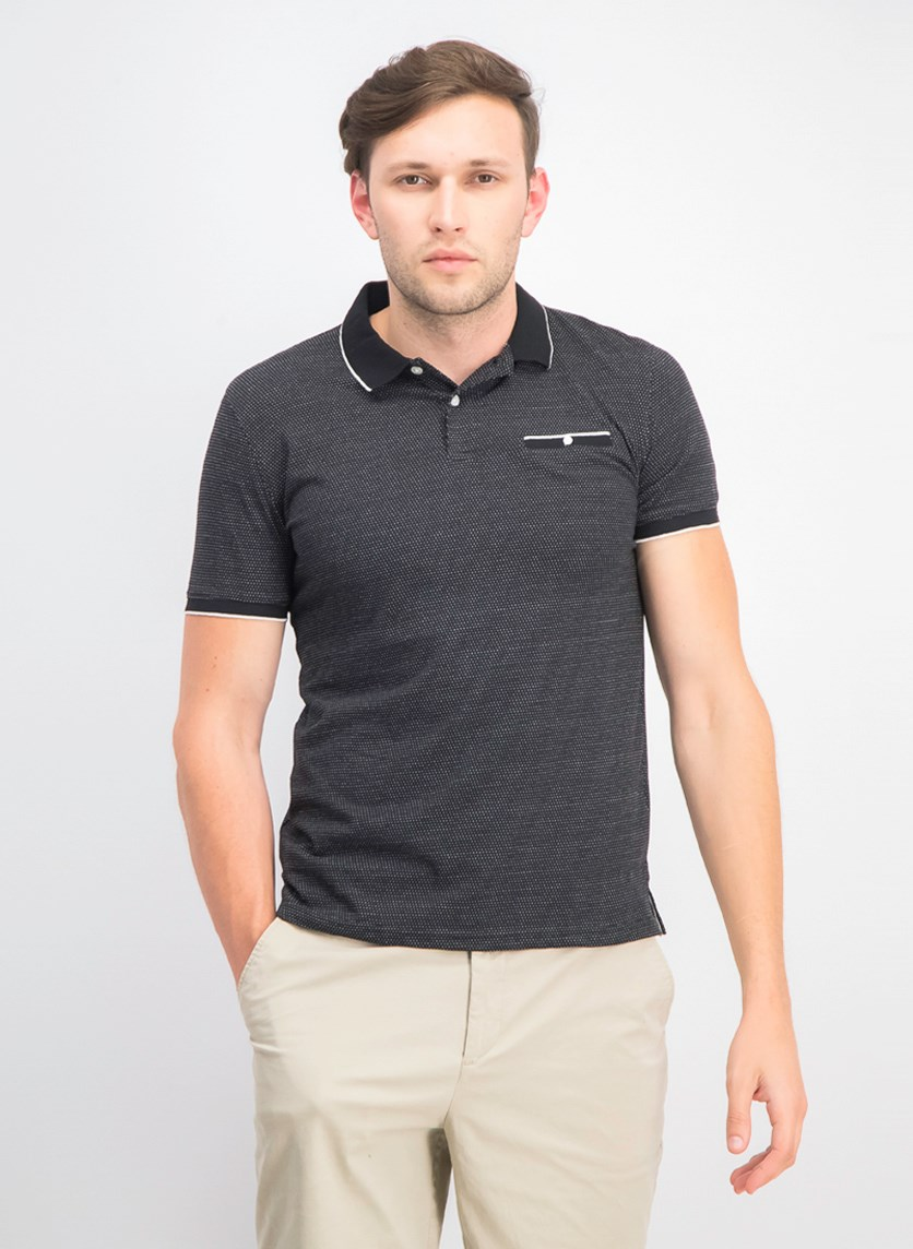 Men's Textured Birdseye Polo, Black