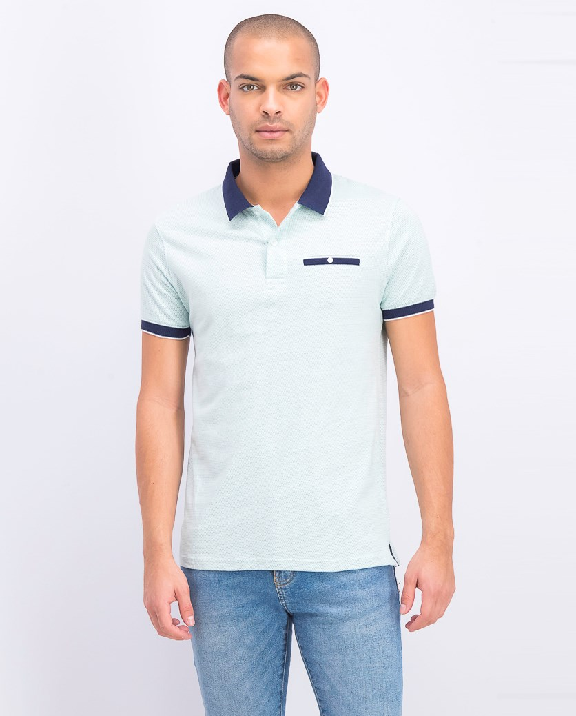 Men's Printed Short Sleeves Polo Shirt,Mint