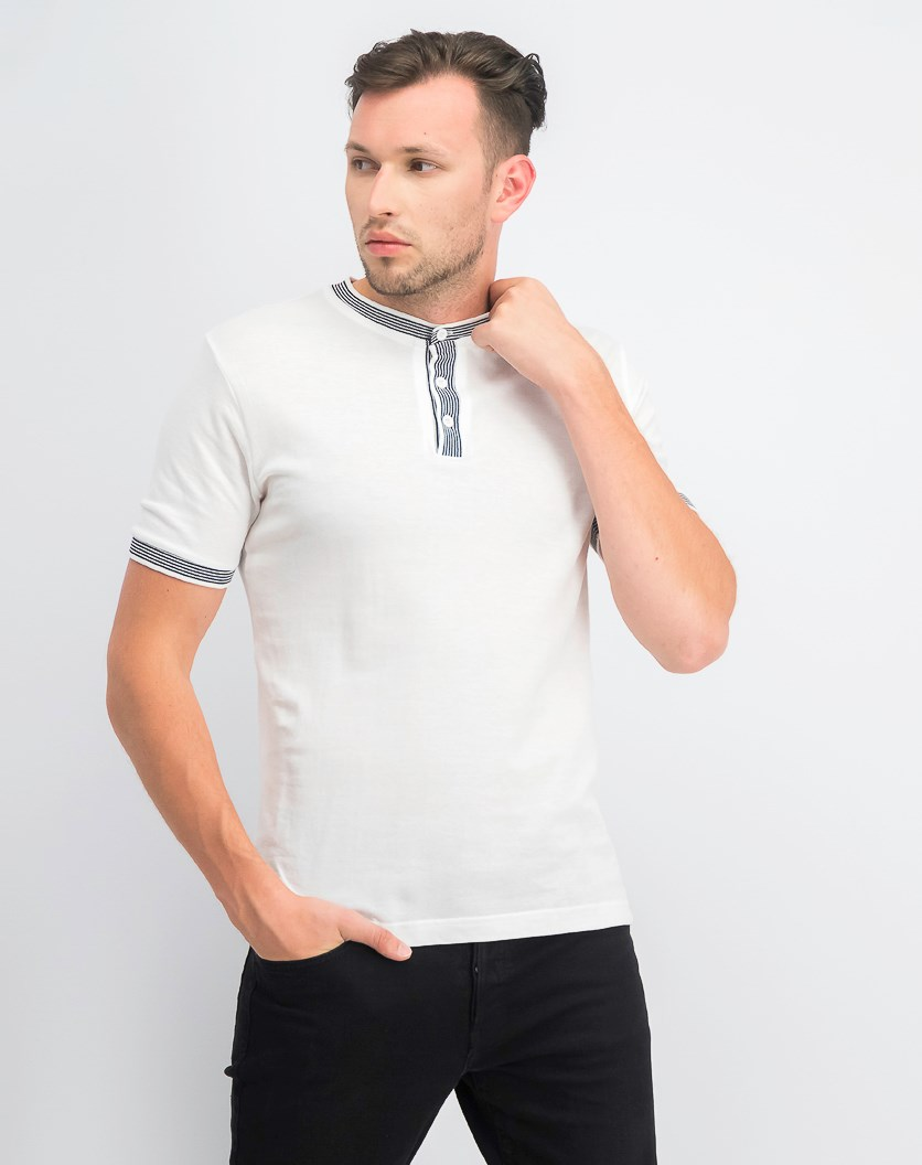 Men's Pique Yarn Dyed Henley Shirt, White
