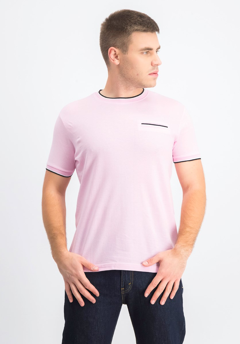 Men's Shorts Sleeves Crew Neck T-Shirt, Pink