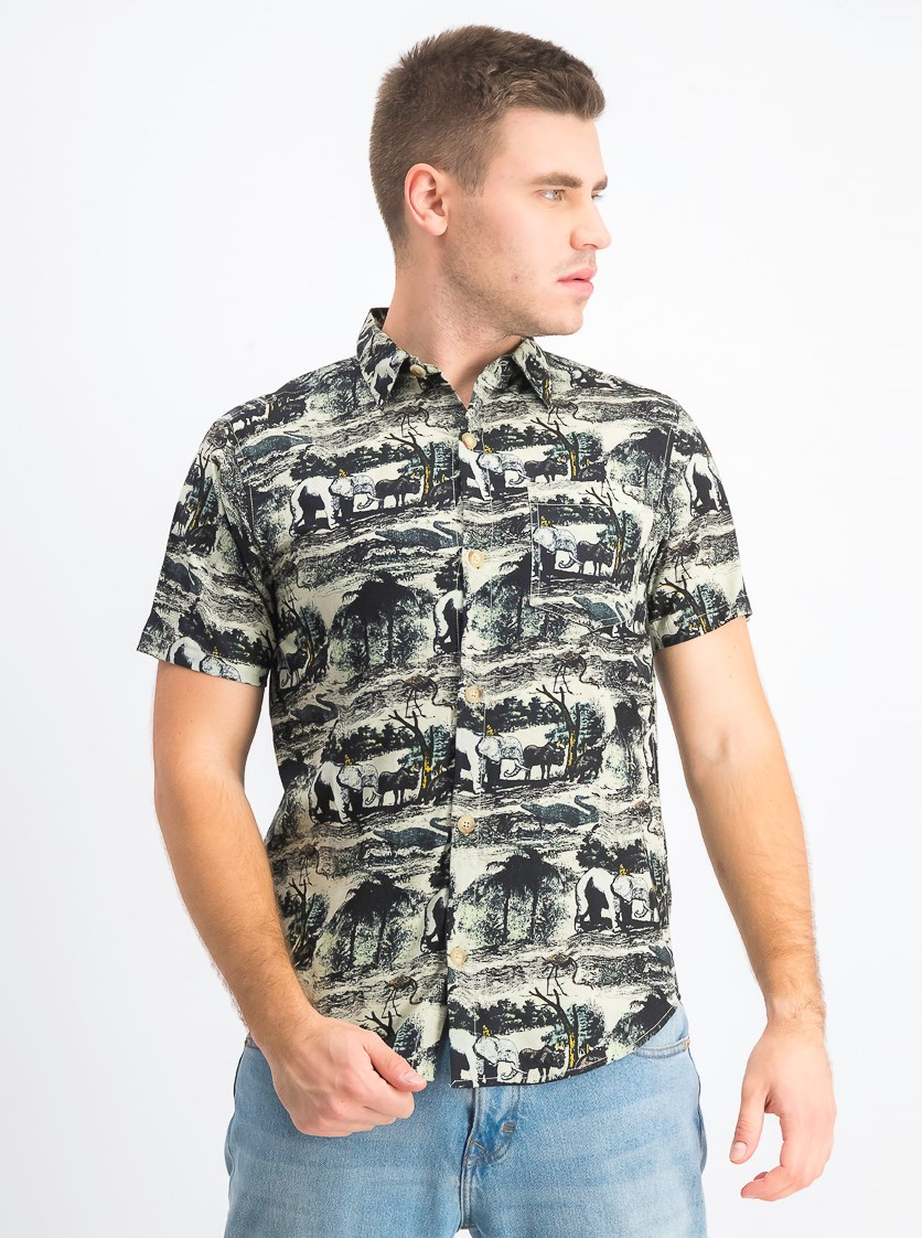 Men's Print Shirt, Ecru