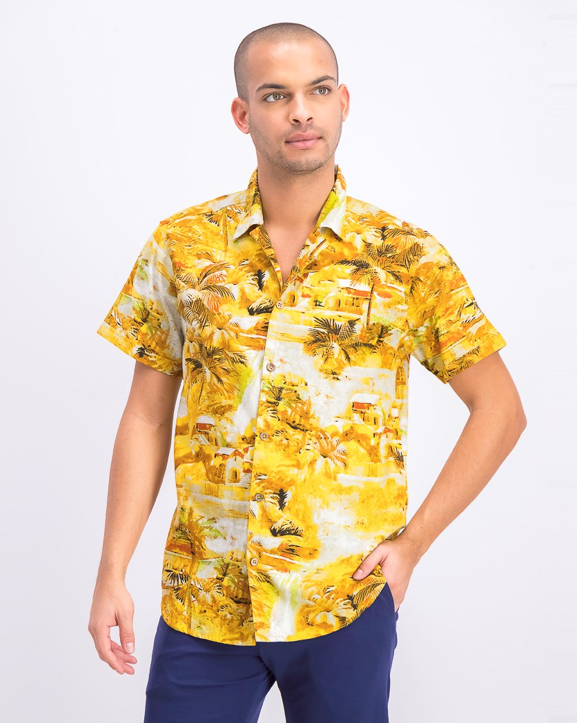 Men's Shortsleeve Shirt, Yellow Combo