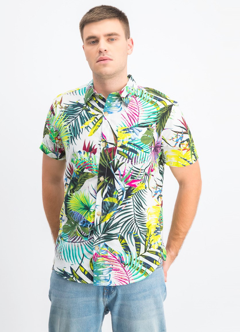 Men's Printed Short Sleeves Shirt, White Combo