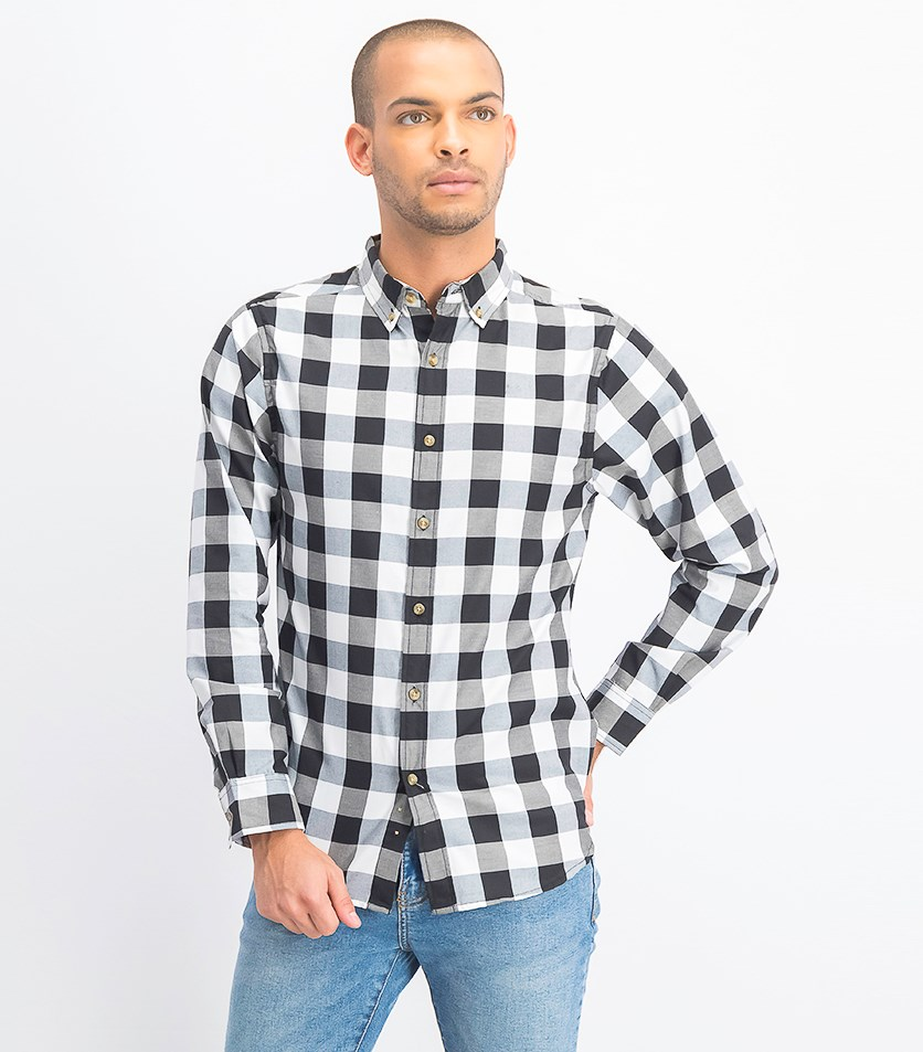Men's Long Sleeves Twill Buffalo Plaid Button Down Shirt, Black