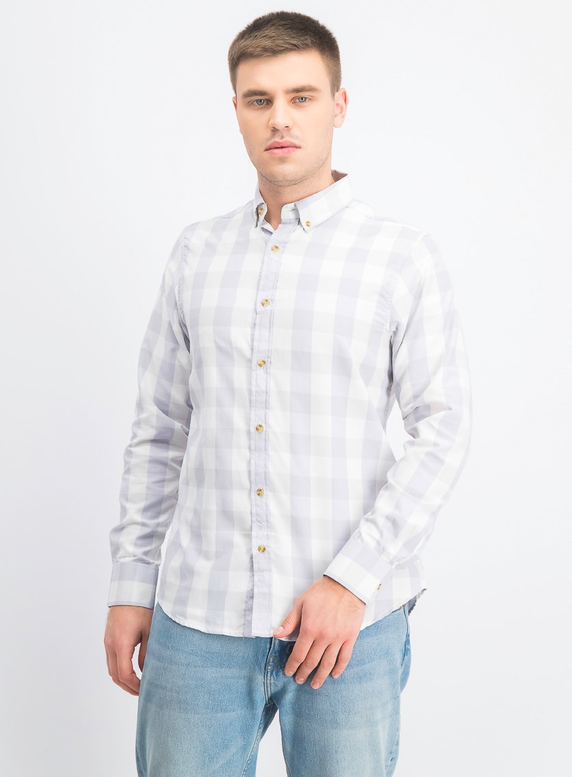 Men's Long Sleeve Plaid Shirt, Light Grey