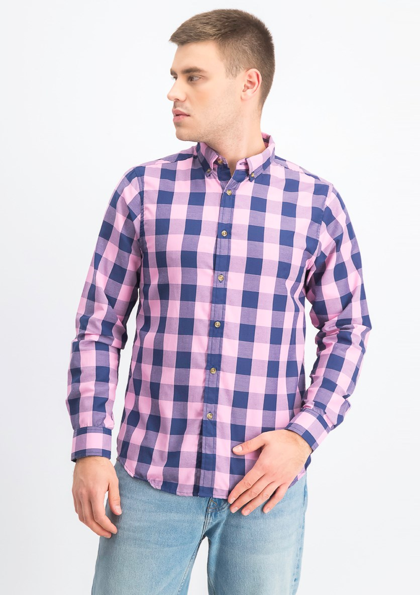 Men's Long Sleeves Twill Buffalo Plaid Button Down Shirt, Pink