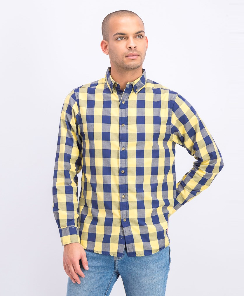 Men's Long Sleeve Plaid Casual Shirt, Butter
