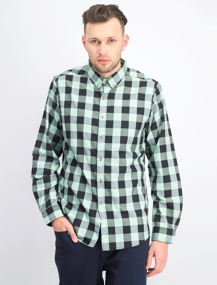 Men's Longsleeves Buffalo Plaid Shirt, Mint/Black