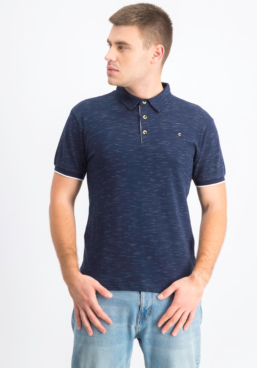 Men's Pique Short Sleeves Polo, Navy