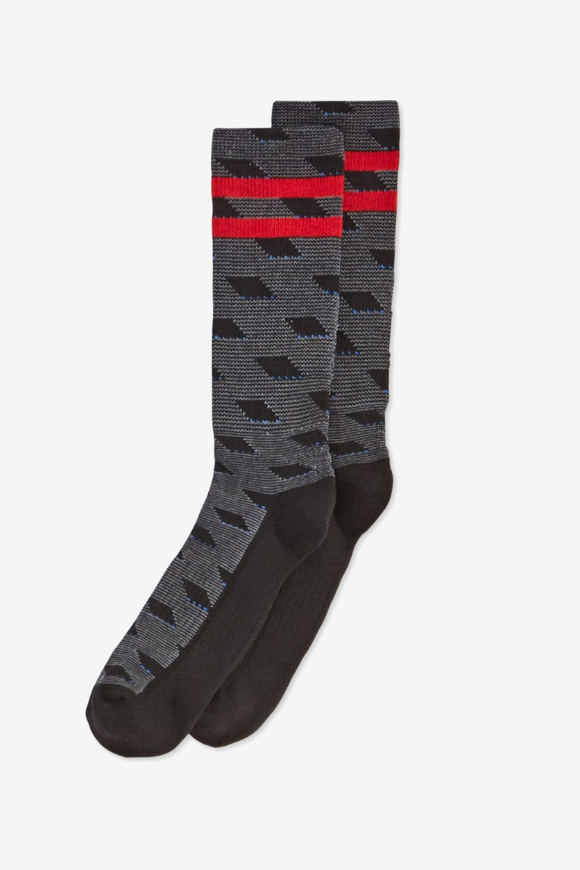 Men's Casletic Printed Socks, Black/Red