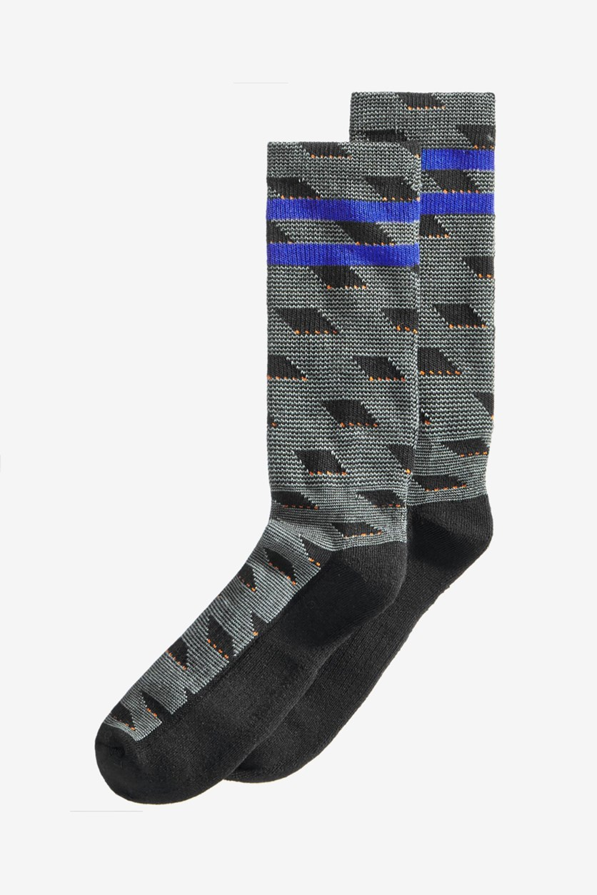 Men's Casletic Printed Socks, Black Combo