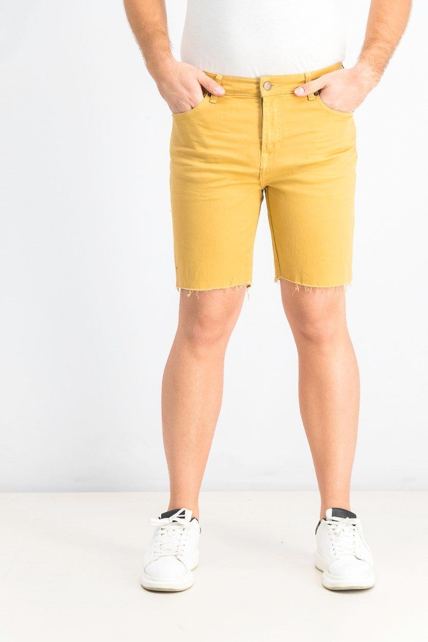 Men's Pull On Denim Shorts, Gold