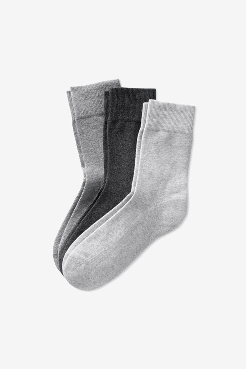 Women's 3 Pair Socks, Grey/Black