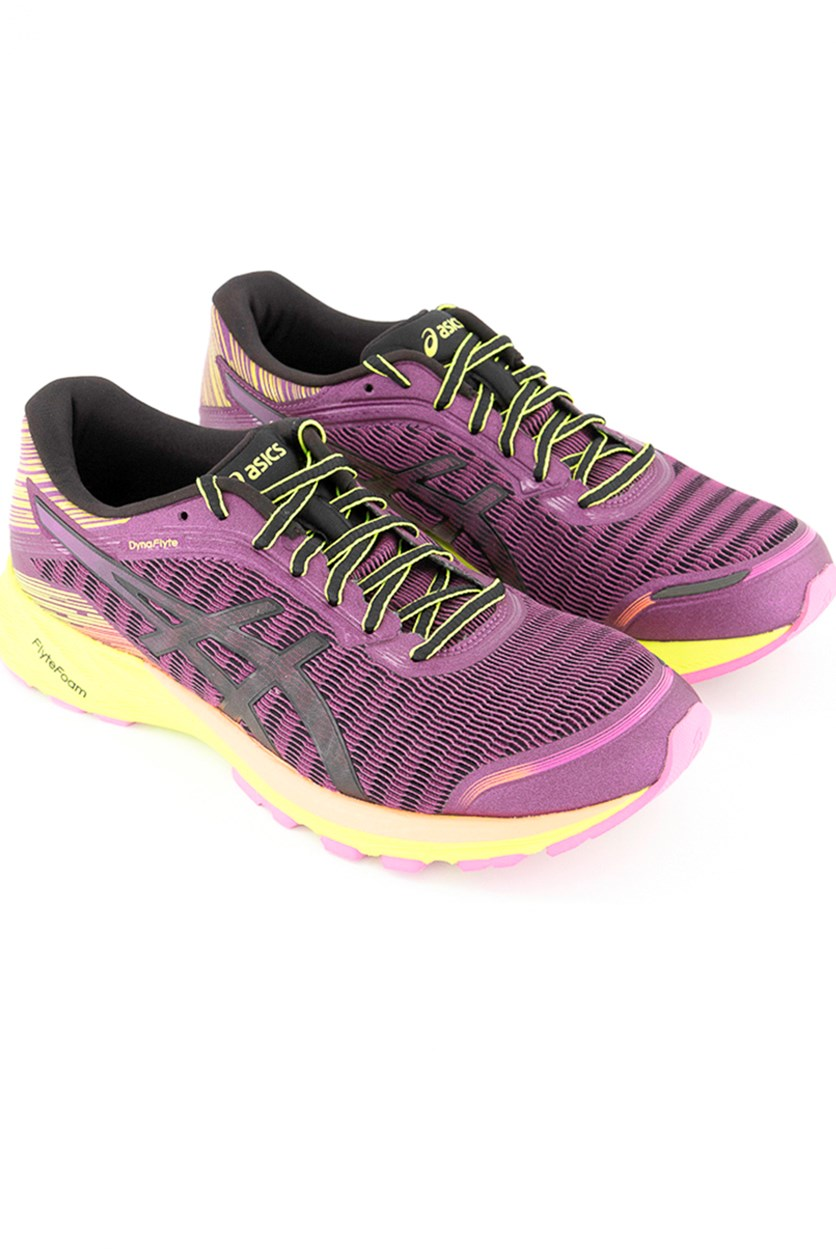 Women's Dyna Flyte Running Shoes, Phlox/Safety Yellow