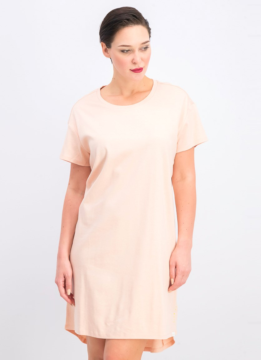Women's Lace-up T-Shirt Dress, Pink