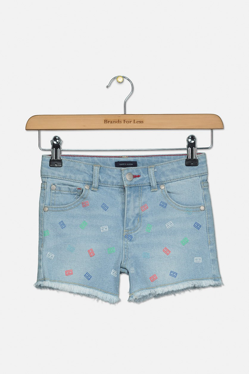 Kids Girls Printed Denim Shorts, Bowery Wash