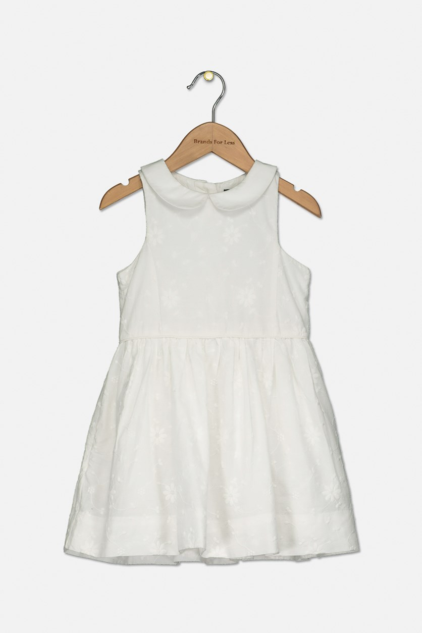 Toddler Girl's Floral Embroidered Cotton Dress, White