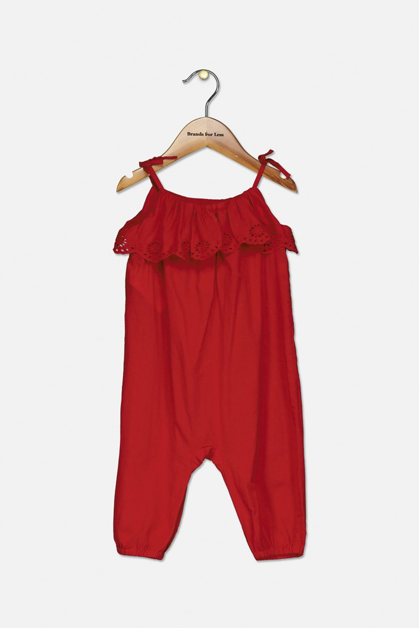 Baby Girls Eyelet-Overlay Romper, Red