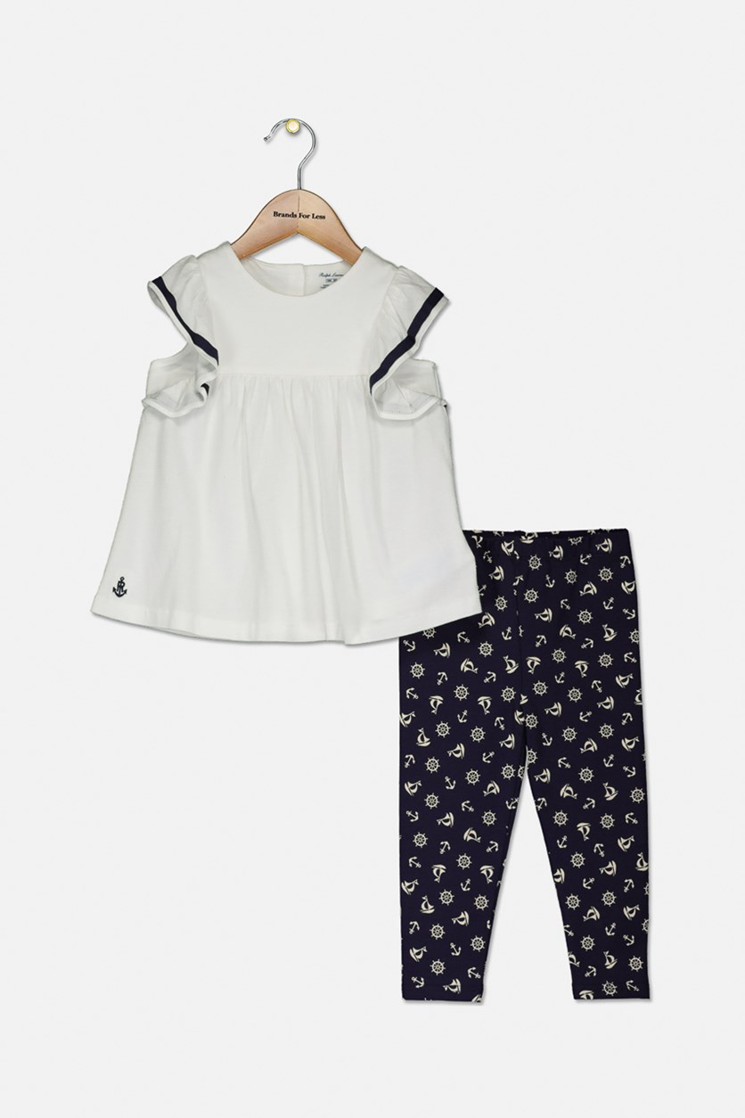 Baby Girls Ruffled Top & Leggings Set, White/Navy