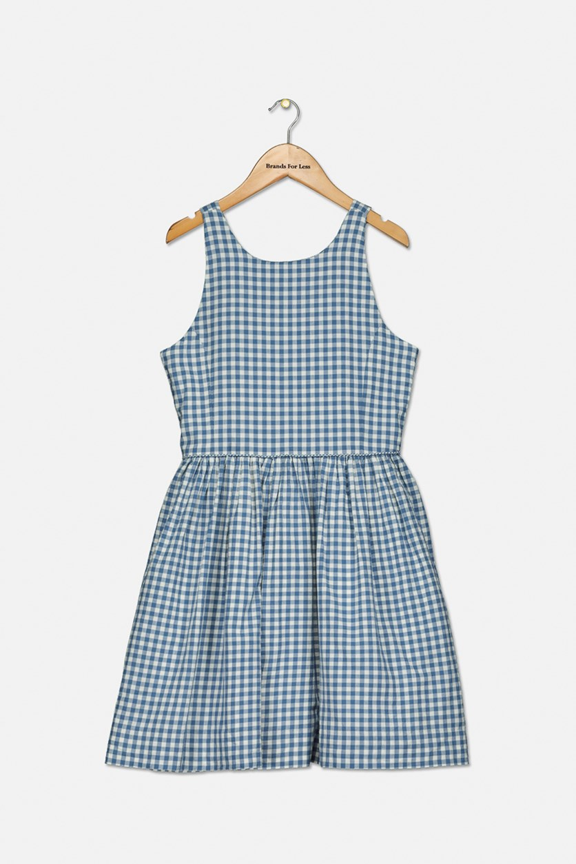 Girls' Gingham Dress, Blue/White