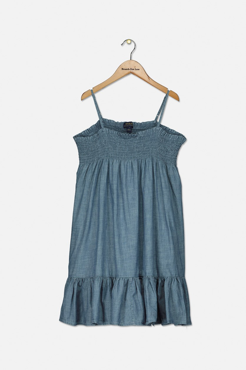 Big Girls Cotton Chambray Dress, Blue