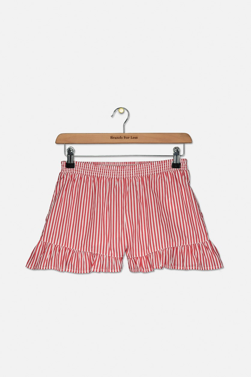 Big Girls Striped Ruffled Cotton Shorts, Red/White
