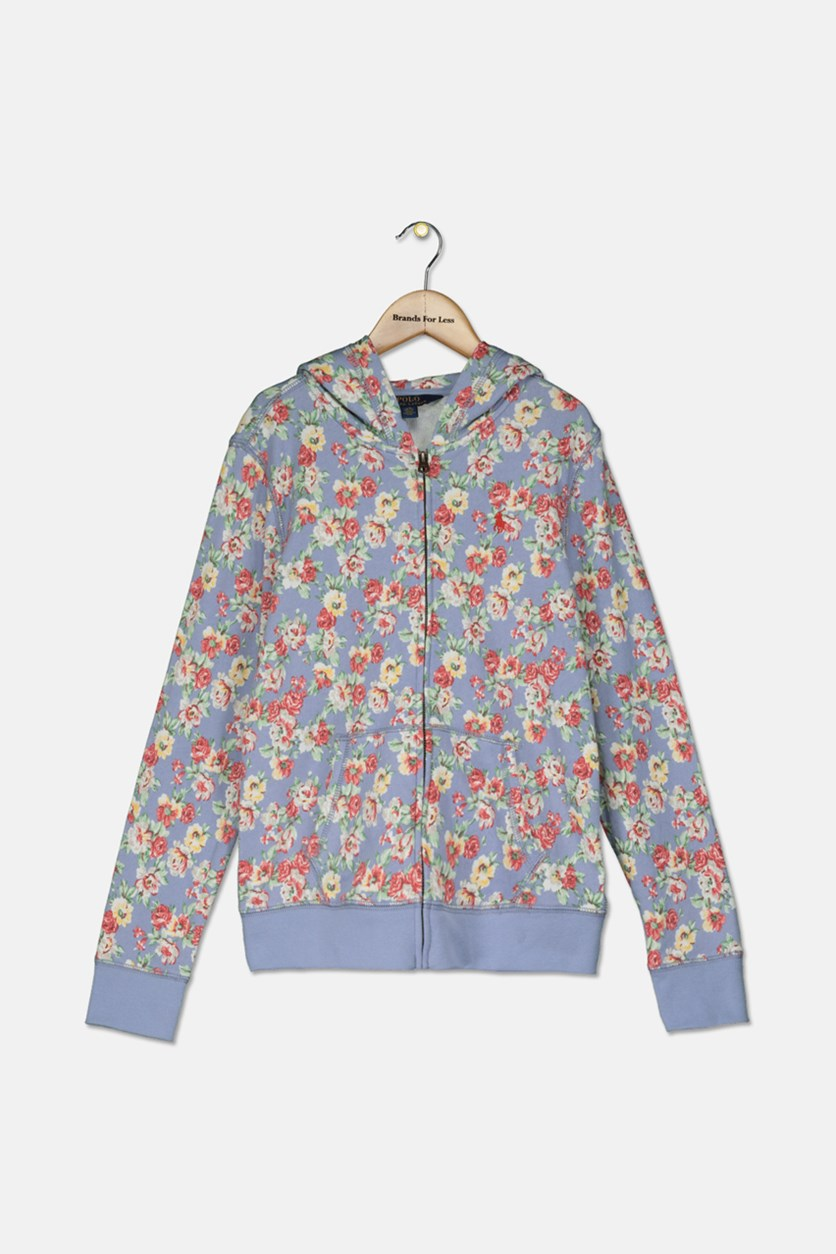Big Girls Floral-Print Cotton French Terry Hoodie, Purple