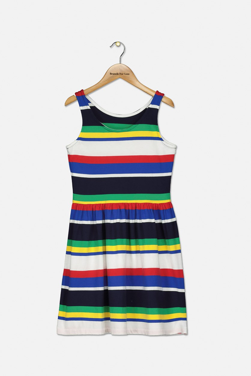 Girls' Striped Fit-and-Flare Dress, Navy Combo