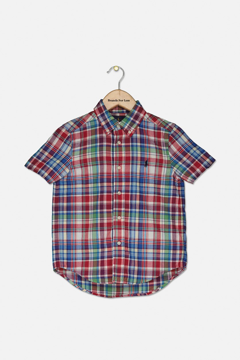 Kids Boys' Madras Camp Shirt, Red Combo