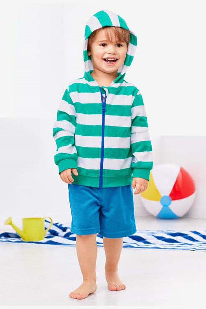 Toddler Boys Toweling Combi, Turquoise/Blue/White