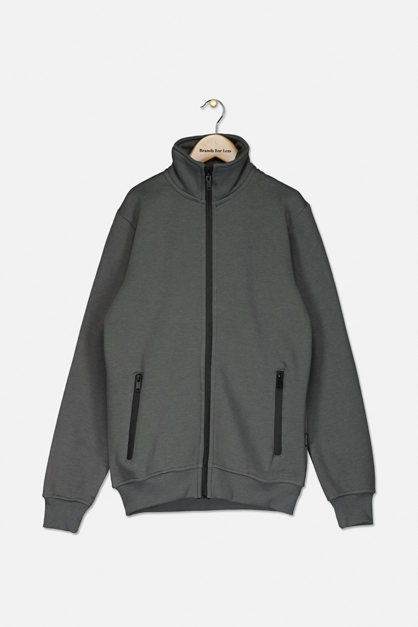 Kids Boys Full Zip Jacket, Grey
