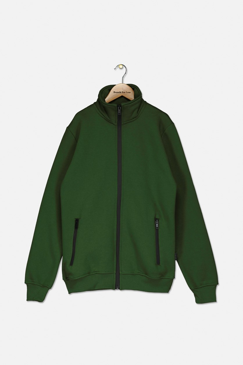 Kids Boys Fleece Full Zip Jacket, Green